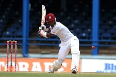 Opener Kraigg Brathwaite … top-scored with 46 for West Indies.