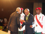 "President David Granger (left) congratulating Bryn Pollard SC on his national award of the Order of Roraima for his ""contributions in the field of law at the National, Regional, Commonwealth and International levels."" The ceremony was held at the National Cultural Centre today. (Keno George photo)"