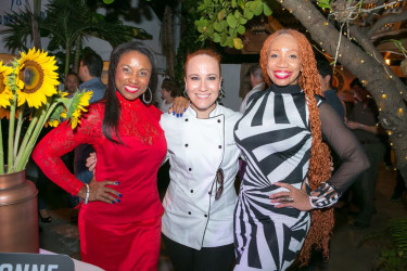 Sonia Noel (right) and Chef Adrianne Colvo (centre) pose with a model at Festival of Chefs