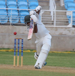 Andre McCarthy strokes a delivery through the off-side during his top score of 92 for Jamaica Scorpions on Friday. (Photo courtesy WICB Media)