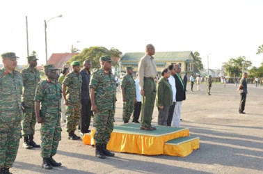 President David Granger (on dais), Prime Minister Moses Nagamootoo, Minister of State Joseph Harmon and Minister of Legal Affairs Basil Williams at the Square of the Revolution as Guyana Defence Officers were staging the army's 50th anniversary route march (GINA photo)