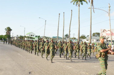 Guyana Defence Officers on the army's 50th anniversary route march (GINA photo)