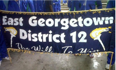 """East Georgetown's banner depicting their motto: """"The Will To Win."""""""