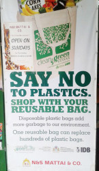 Say No To Plastic Bags - sign at the door of N & S Mattai Supermarket