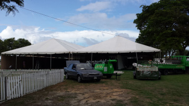 Rent-A-Tent was constructing one of the larger pavilions that will have the capacity to house some 70 booths.