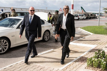 President of Guyana, David Granger (right) arriving in Malta for the Heads of Government Meeting. (Photo via GINA)