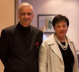 Commonwealth Secretary-General Designate Baroness Patricia Scotland with her predecessor Kamalesh Sharma