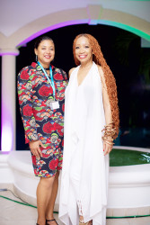 Newly appointed Guyanese Assistant Consul General to Barbados Monique Jackman (left) with Sonia Noel (Photo by Charles Phillips)