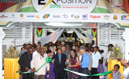 Acting President Moses Nagamootoo declares the 2015 Business Exposition open in the presence of Minister of Business Dominic Gaskin (far right), other members of the Cabinet and members of the diplomatic corps. (Photo by Keno George) Pic saved as Y:\Pictures\Keno George\27-11-15 businessexpo