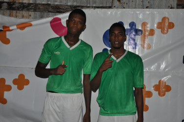 Milerock goal scorers from left to right, Troy Lewis and Clarence Huggin