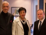 Baroness Scotland (centre) At left is her predecessor Kamalesh Sharma (Commonwealth photo)