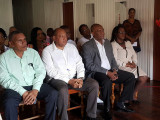 From left in front row are Region Seven Chairman, Gordon Bradford; Minister of Governance, Raphael Trotman; Minister of State, Joseph Harmon and Minister within the Ministry of Social Protection, Simona Broomes at the recommissioning ceremony today of the Guyana Gold Board (GGB) Bartica Office.  (Ministry of the Presidency photo)