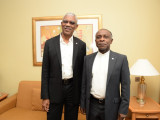 President David Granger (left) and Guyana's Foreign Minister Carl Greenidge at the Radisson  Golden Sands  (GINA photo)
