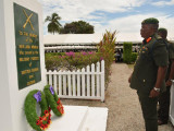 Chief of Staff of the Guyana Defence Force Mark Phillips as he laid a wreath at the Veterans' Monument, during the Veterans' Day ceremony. (Ministry of the Presidency photo)