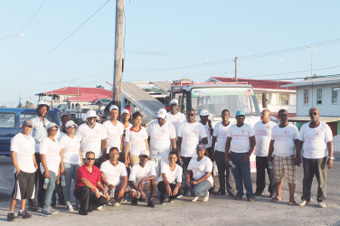 In photo: Members of the West Demerara Road Safety Association along with their accompanying traffic officer, congregated in front of the Leonara Police Station yesterday at the conclusion of the group's awareness walk