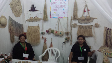 Ann Marie De Jesus and Norma Ferreira in front of their booth at the Business Exposition. Both women were interested in being part of the expo in the hopes of finding markets to sell their craftwork.