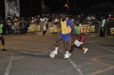 Part of the action from the earlier group stage round in the Guinness Greatest of the Streets Georgetown Championship at the National Cultural Centre tarmac on Mandela Avenue