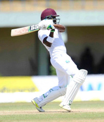 Left-hander Darren Bravo … finished unbeaten on 46 at the close. (file photo)