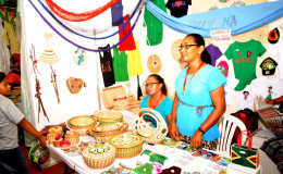 Lavern Edmondson and Nana Khan with their Amerindian Craft at the Business Expo