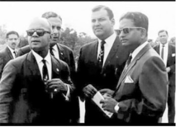 Kamaluddin Mohammed, right, with, from left, former prime minister Eric Williams and government ministers John O'Halloran and Errol Mahabir.