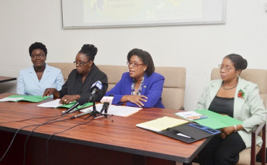 Minister of Tourism Cathy Hughes (second from right) flanked by Tourism PRO Marjorie Chester (right), Director of the Consumer Affairs Division Muriel Tinnis Duke and Education Officer Kushana Archer at the launching. (GINA photo)