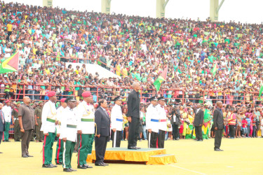 A scene from President David Granger's inauguration at the National Stadium (Stabroek News file photo)