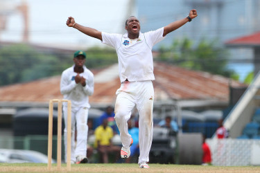 Guyana Jaguars medium pacer Chris Barnwell celebrates another wicket during his five-wicket haul against Red Force at Queen's Park Oval yesterday. (Photo courtesy WICB Media)