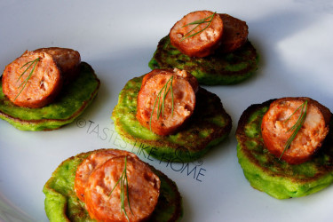 Pea-pancakes with Spicy Sausage Photo by Cynthia Nelson