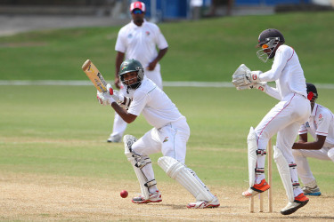 Assad Fudadin plays the ball behind square on the off-side on the second day of the fourth round match between Trinidad & Tobago Red Force and Guyana Jaguars in the WICB Professional Cricket League Regional 4-Day Tournament yesterday at Queen's Park Oval.  (Photo courtesy WICB Media)