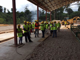North Rupununi community leaders paying close attention as the sawmill manager explains the operations. (Photo courtesy of Iwokrama)