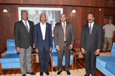 President David Granger (second from left) today met Opposition Leader Bharrat Jagdeo (third from left) to discuss a nominee to act as Chief Justice when Justice Ian Chang goes into retirement. Also in this Ministry of the Presidency photo are Minister of State Joseph Harmon (left) and Attorney General Basil Williams.