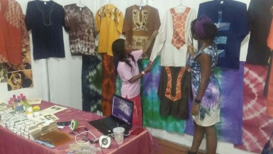 Denyse Grant (left) and her creations at the Business Expo