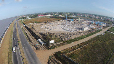 The Turkeyen property sold to Multicinemas Guyana Inc. for the establishment of a modern state-of-the-art entertainment complex with multiplex cinemas. Work has been ongoing on the site since 2013. (Stabroek News file photo)