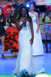 Miss Guyana Lisa Punch (stage front) at the Miss World Talent competition (Miss World photo)