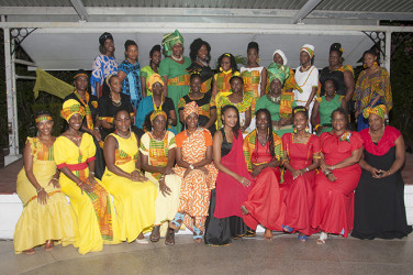 Hebrew Family of Guyana Sisterhood dressed in the colours of the flag