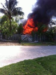 The North Ruimveldt Georgetown house ablaze (Photo by Calvin Prince)