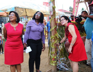 First Lady Sandra Granger (right) turning on the tree. Minister of Tourism, Cathy Hughes is at left. (Ministry of the Presidency photo)
