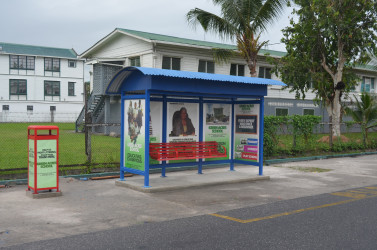 For your comfort: A Pyramid Shelter and Outbranding bus shed at Croal and Camp streets. The shed is accompanied by a garbage bin and a seat to accommodate four persons.