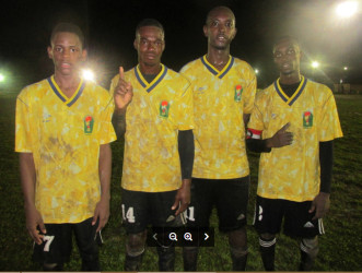 Amelia's Ward Scorers from left to right, Jevon Babb, Marlon Simon, Ray Babb-Semple and Kevin Powell following their lopsided win over Botofago Sunday at the Mackenzie Sports Club ground, Linden.