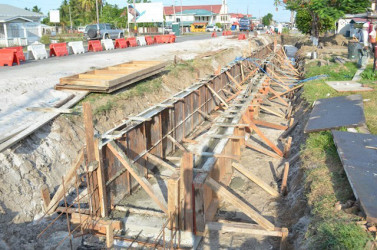 Road widening ongoing at Anna Catherina, West Coast Demerara, Region Three (GINA photo)