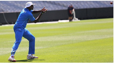 Captain Jason Holder goes through catching drills in a training session on Wednesday as West Indies prepare for the Melbourne Test. (Photo courtesy WICB Media)