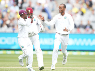 Kraigg Brathwaite of the West Indies celebrates after taking the wicket of Joe Burns of Australia during day one of the Second Test match between Australia and the West Indies at the Melbourne Cricket Ground yesterday. (Photo courtesy of WICB media)