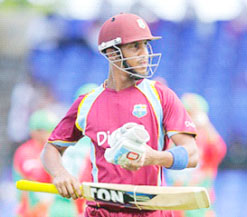 West Indies limited opener Lendl Simmons … suffered the indignity of a first ball 'duck'.