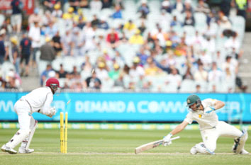 Joe Burns of Australia is stumped by Denesh Ramdin of the West Indies during day one of the Second Test match between Australia and the West Indies at the Melbourne Cricket Ground yesterday. (Photo courtesy of WICB media)