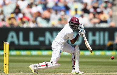 West Indies batsman Rajendra Chandrika, who made the second highest score of 25, bats during day two of the Second Test match between Australia and the West Indies at the Melbourne Cricket Ground yesterday. (Photo courtesy of WICB media)