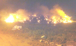 The Haags Busch Landfill fire after the members of the fire service left the site on Monday December 21. (Photo provided by Site Manger Lloyd Stanton)