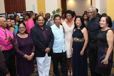 President David Granger (second from right) with from left: Sita Nagamootoo, Prime Minister Moses Nagamootoo, Stanley Ming, Audrey Ford, Michele Ming and First Lady Sandra Granger  at Mings Products and Services' (MPS) 25th anniversary celebration at the Pegasus Hotel.