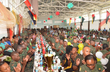 A section of the members of the GDF based at Camp Ayanganna at their Christmas Lunch yesterday. (Ministry of the Presidency photo)