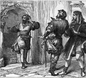 An artist's illustration of Shakespeare's porter scene in Macbeth