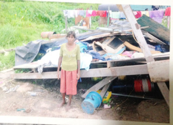 Sandra standing next to what remained of her house
